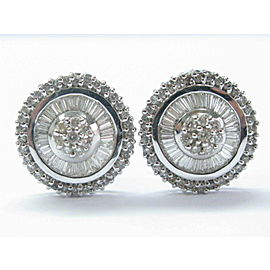 18Kt Multi Shape NATURAL Diamond Circle White Gold Huggie Earrings 1.35CT