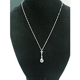 "18Kt Black Pearl Diamond Pendant White Gold Necklace 18"" 1"" 9mm .16Ct"