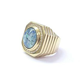 Fine Mens Opal Diamond Yellow Gold Circular Jewelry Ring 14KT 2.70Ct