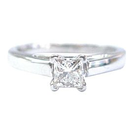 THE LEO Princess Cut Diamond White Gold Solitaire Engagement Ring .49Ct I-VS1