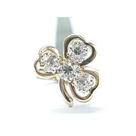 NATURAL 14Kt Vintage Old European Diamond 4-Stone Yellow Gold Leaf Ring 1.80Ct
