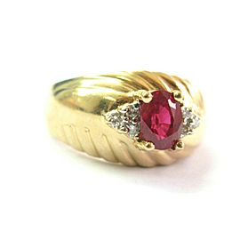 Oval Ruby & Diamond Yellow Gold Ring Solid 14Kt 1.02Ct+.07Ct SIZEABLE H-I / VS2