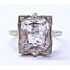 Vintage 18Kt Kunzite & Diamond White Gold Milgrain Ring 4.53Ct