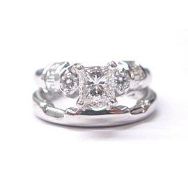 Fine Princess Cut Diamond Engagement Set Ring White Gold 1.22CT