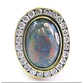 NATURAL 18Kt HUGE Spinning Opal & Diamond Yellow Gold Ring STAR SKY 16.86Ct