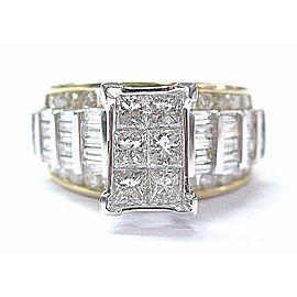 Fine Princess Baguette & Round Cut Diamond Invisible Set Ring YG 14KT 3.00Ct