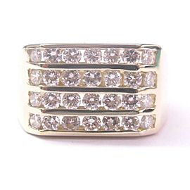 Fine 4-Row Diamond WIDE Jewelry Ring Yellow Gold 2.50CT