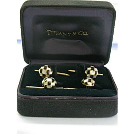 Tiffany & Co 18Kt Mother of Pearl & Onyx Yellow Gold Shirt Studs