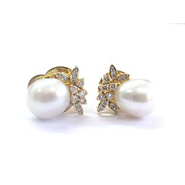 14Kt South Sea Pearls & Diamond Yellow Gold Ring & Earrings 11mm .65Ct