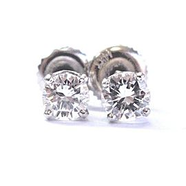 Fine Round Cut Diamond Stud Earrings .66Ct SCREW BACK White Gold 14Kt E-VVS1