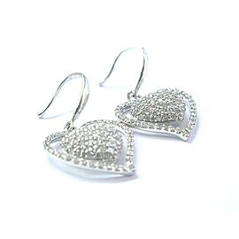 Heart Shape Pave Diamond White Gold Fish Hook Drop Earrings 14KT 1.00Ct 1""