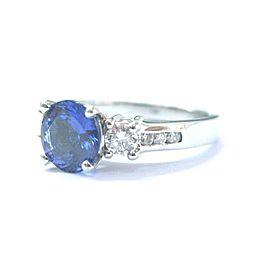 Platinum Gem Tanzanite Diamond Three Stone Engagement Jewelry Ring 2.44CT