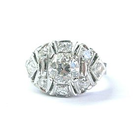 Vintage Old European NATURAL Diamond Solitaire W Accent Engagement Ring 1.56Ct