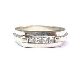 Natural Princess Cut Diamond Three Stone Invisible Set White Gold Ring 14KT .55C