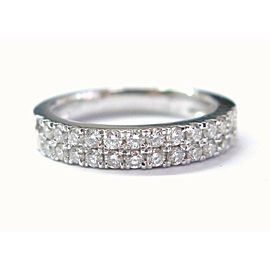 Natural Round Diamond Two Row White Gold Band Ring 18Kt .42Ct F-VS1 Sizeable