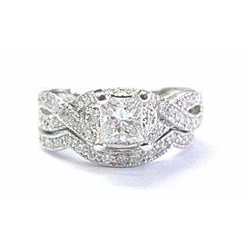 Fine Princess & Round Cut Diamond Milgrain 2-Ring Wedding Set 1.14Ct E/F-SI1/SI2