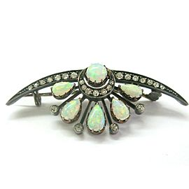 Vintage Gold & Silver Opal Old Euopean Cut Diamond Brooch 1.65Ct
