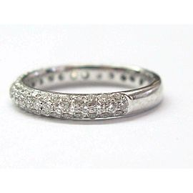 18KT Round Cut Diamond Pave White Gold Band Ring 3-Row .88CT
