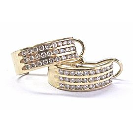 Fine Round Cut Diamond Yellow Gold 3-Row Huggie Earrings 14Kt 1.20Ct
