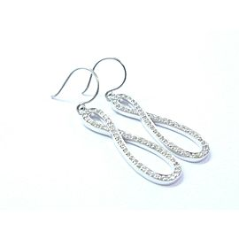 18Kt Criss Cross NATURAL Diamond Pave White Gold Drop Earrings .50Ct 1.5""