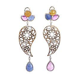 Leaderline 18k Rose and White Gold Sapphire & Diamond Drop Earrings