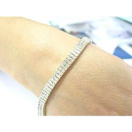 NATURAL Round Cut Diamond Two Row SOLID Yellow Gold Tennis Bracelet 6.24CT