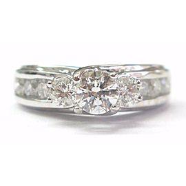 Fine Three-Stone Diamond Engagement Ring Channel Set White Gold 1.42CT