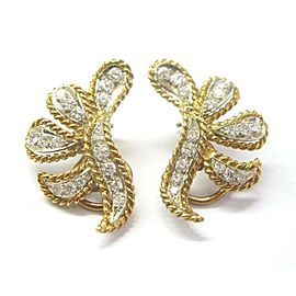"Floral Rope Diamond Solid Yellow Gold Drop Earrings 14K 1.20Ct F-VS1 1"" x 1/2"""