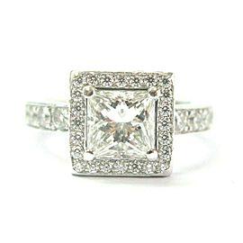 Halo Princess Cut Diamond Engagement Ring Platinum PT950 1.21Ct+.91Ct GIA E-VS1