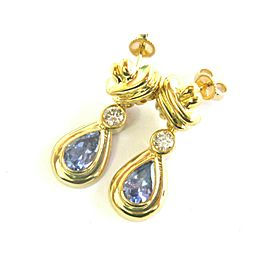 Pear Shape Tanzanite & Diamond Drop Earrings 14kt Yellow Gold 2.10Ct + .34CT