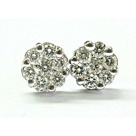 Floral Diamond White Gold Stud Earrings 14KT 14-Stones .75Ct 7.5mm