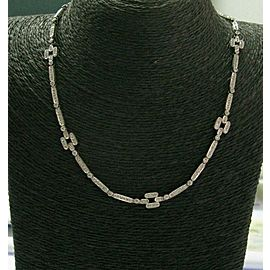 "Diamond Milgrain Square Necklace 18Kt White Gold 231-Stones 16"" 3.50Ct"