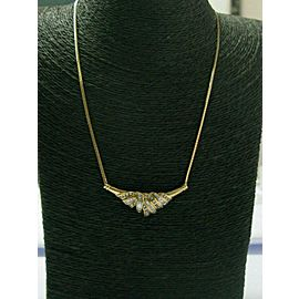 """Round & Baguette Diamond Necklace 14Kt Yellow Gold 17"""" 1.40Ct F-VS1"""