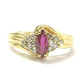 Marquise Shape Ruby & Diamond Ring 14Kt Yellow Gold .65Ct + .25Ct SIZEABLE