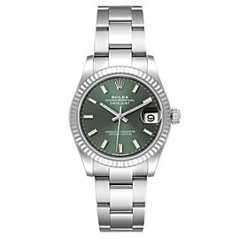 Rolex Datejust Midsize Steel White Gold Mint Green Dial Watch