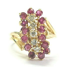 Ruby & Diamond Cocktail Ring 14Kt Yellow Gold 1.50Ct + .30Ct G-VS