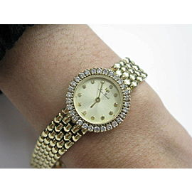Lucien Piccard Circular Diamond Wristwatch .96Ct Yellow Gold 14KT