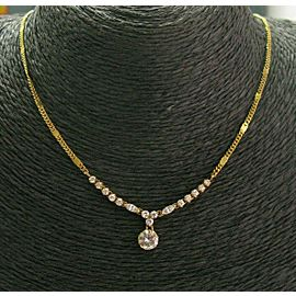 22Kt Round & Marquise Diamond Necklace .82Ct+.18Ct+.45Ct G-VS2 16""