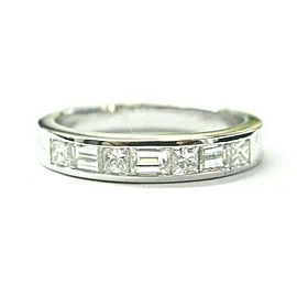 Princess & Baguette Diamond Band Ring 14Kt White Gold .88Ct 3.9mm