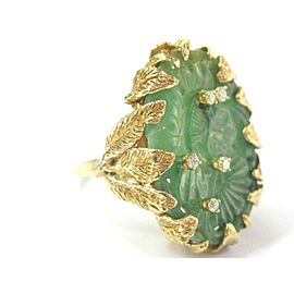 Apple Jade & Diamond Ring 14Kt Yellow Gold .15Ct 35mm WIDE 10.5 SIZEABLE