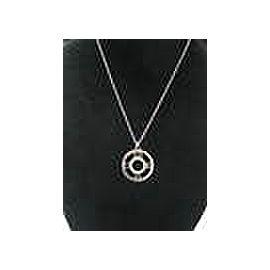 Tiffany & Co Atlas Diamond Circular Pendant Necklace 18Kt White Gold