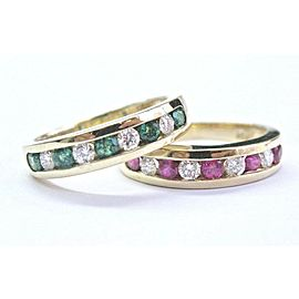 Ruby Emerald & Diamond Yellow Gold Band (2) Rings 1.00Ct 14KT