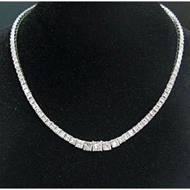 "Princess Cut Diamond Riviera Necklace 18Kt White Gold E/VVS1-VS2 17"" 20.06Ct GIA"