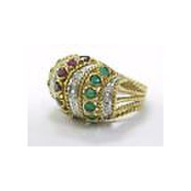 Multi Gem & Diamond Big Dome Ring 18Kt Yellow Gold 1.20CT