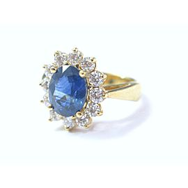 Natural Blue Sapphire & Diamond Anniversary Ring 18Kt Yellow Gold 3.86CT
