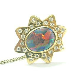 Black Opal & Diamond Tie Tack 18Kt Yellow Gold .60Ct 1""