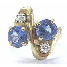 Fine Gem Tanzanite Diamond Yellow Gold Jewelry Ring 2.90Ct