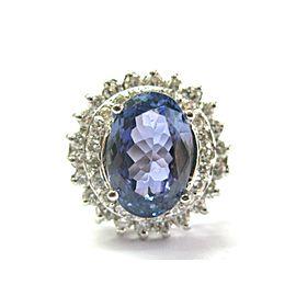 Oval Tanzanite & Diamond Ring 18kt White Gold 5.83Ct AAA/VS