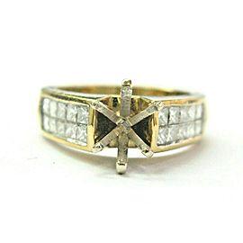 Princess Cut Diamond Semi Mount Ring 18Kt Yellow Gold .60Ct ( 1.00Ct Round Cente