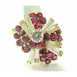 Ruby & Diamond Cocktail Ring 18Kt Yellow Gold 1.64CT Pigeon Red